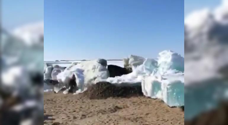 Graban impresionante 'tsunami de hielo' que marca el inicio de verano