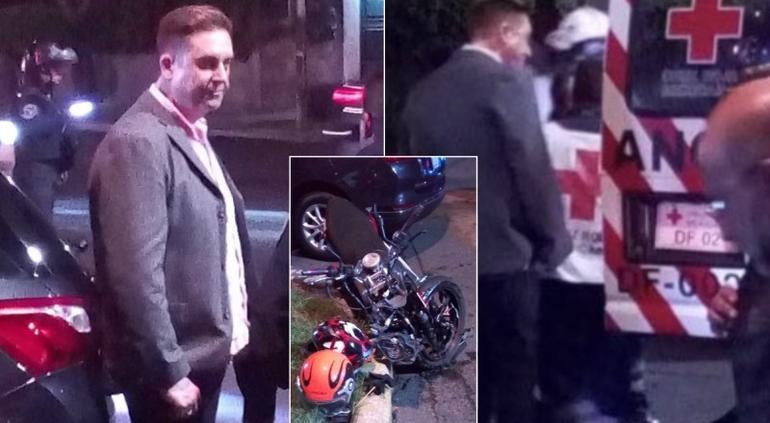 Daniel Bisogno choca contra motociclista en la colonia Anzures