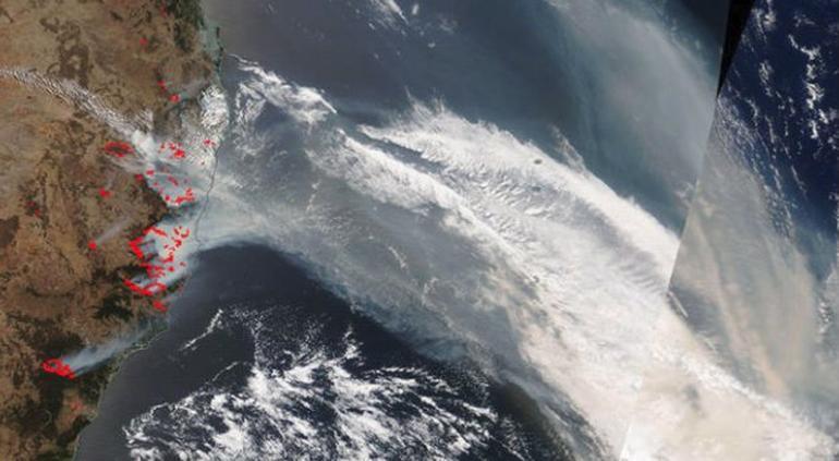 Captó NASA sobre el Pacífico humo de incendios en Australia (FOTO) - El Tiempo de México