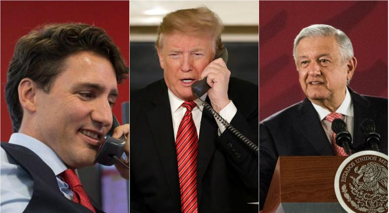 Por teléfono, AMLO agradece a Trump y Trudeau por T-MEC