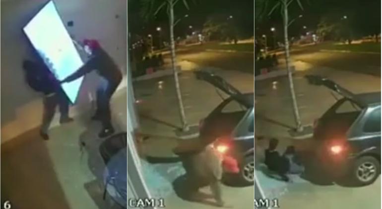 Ladrones intentan robar un televisor; pero nada salió bien