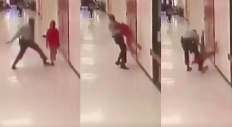 Captan a policía mientras da golpiza a niño de 11 años