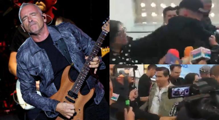 Eros Ramazzotti golpea a fan en aeropuerto de CDMX