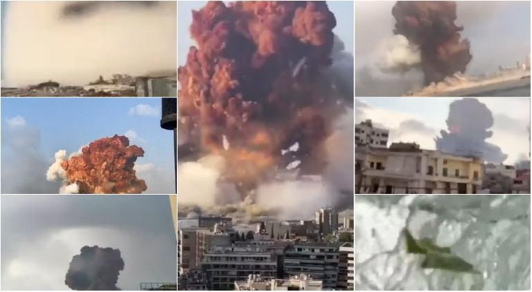 La reacción de unos niños al ver la explosión en Beirut — Estremecedor