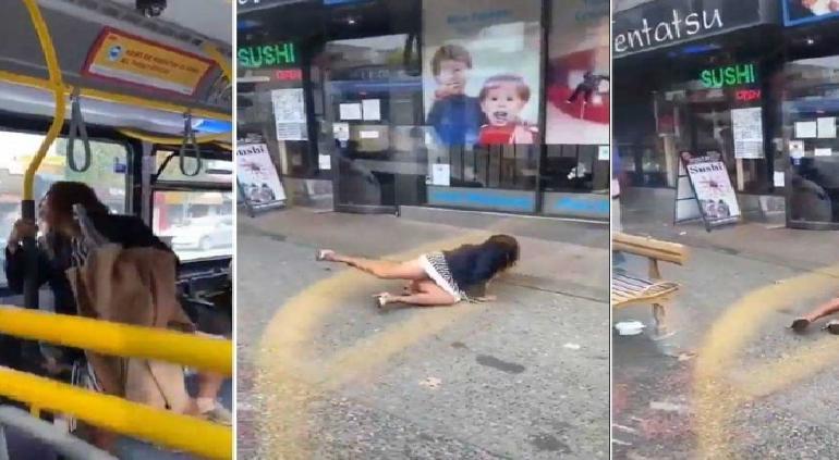 Mujer le escupe a joven en camión