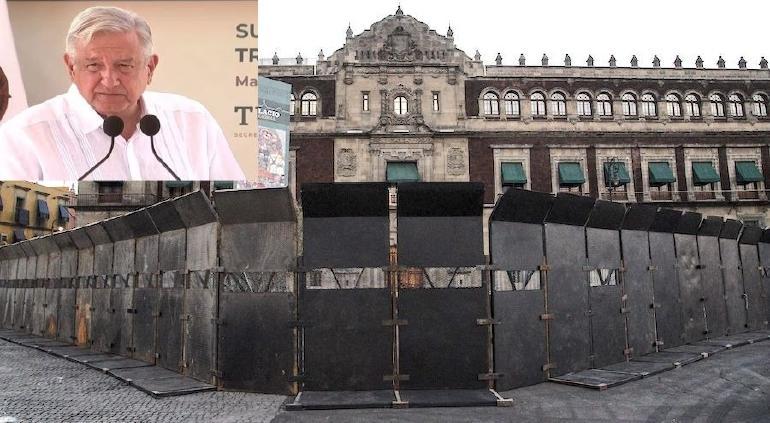 Vallas en Palacio Nacional, para para evitar provocación durante 8M, dice AMLO