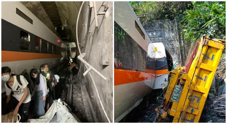 Impactante descarrilamiento de tren dejó decenas de muertos en Taiwán